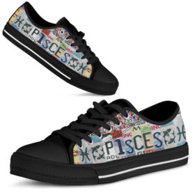 Pisces License Plates Low Top Shoes License Plate Shoes for Mens, Womens Tennis Custom Shoes, Custom Low Top