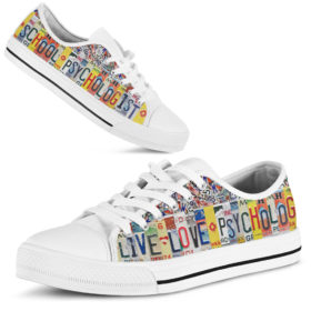 School psychologist live love license plates low top Shoes License Plate Shoes for Womens Tennis Shoes for Mens Custom Tennis Shoes, Custom Sneaker