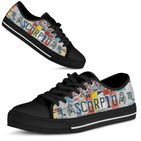 Scorpio License Plates Low Top Shoes License Plate Shoes for Mens, Womens Tennis Custom Shoes, Custom Low Top